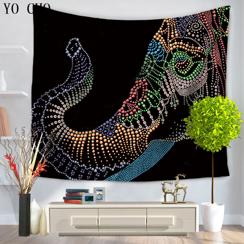 YO CHO Miracille Marine mandala Elephant Wall Tapestry Home Decorative hippie Tapete boho Bedroom Blanket Table Cloth Yoga Mat
