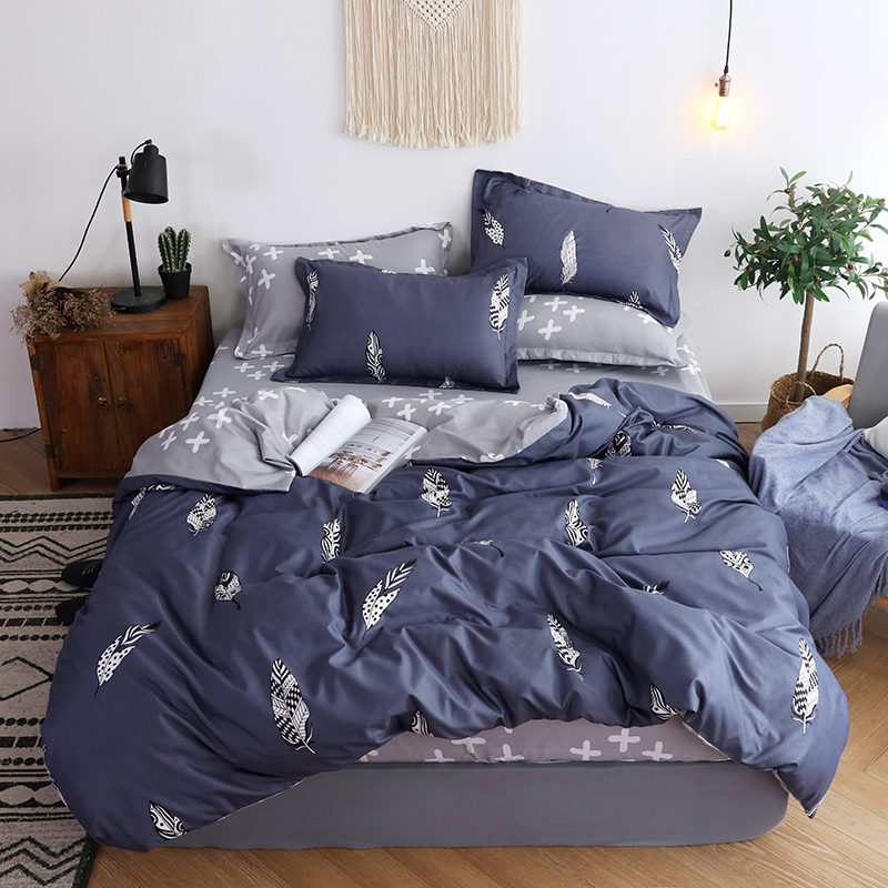 BEST WENSD Free shipping Warm comfortable bedding set Dark durable duvet set no fading Cross Fitted