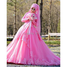 OWD802 Pink Color Asymmetric Skirt Hijab Long Sleeve Arabic Evening Dress Turkey Style 2016