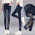 Plus velvet thick national wind embroidered jeans female trousers autumn and winter large size elastic pencil pants were thin le