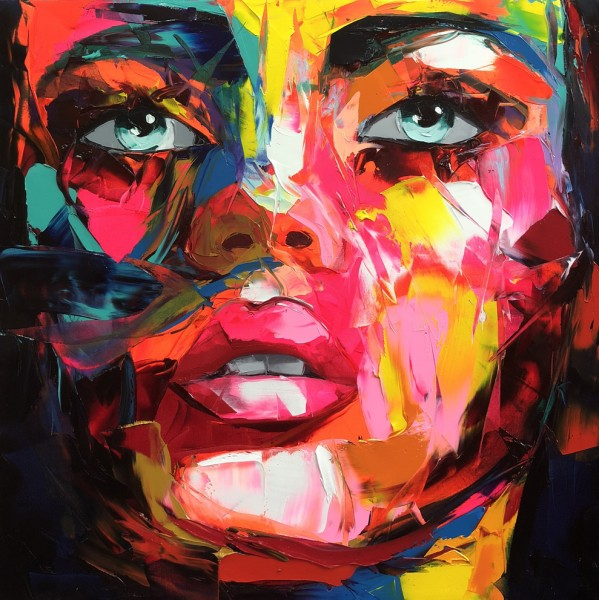 High Quality Abstract Colorful Rectangle Portrait Oil Painting Reproduce Hand-painted Francoise Nielly Face