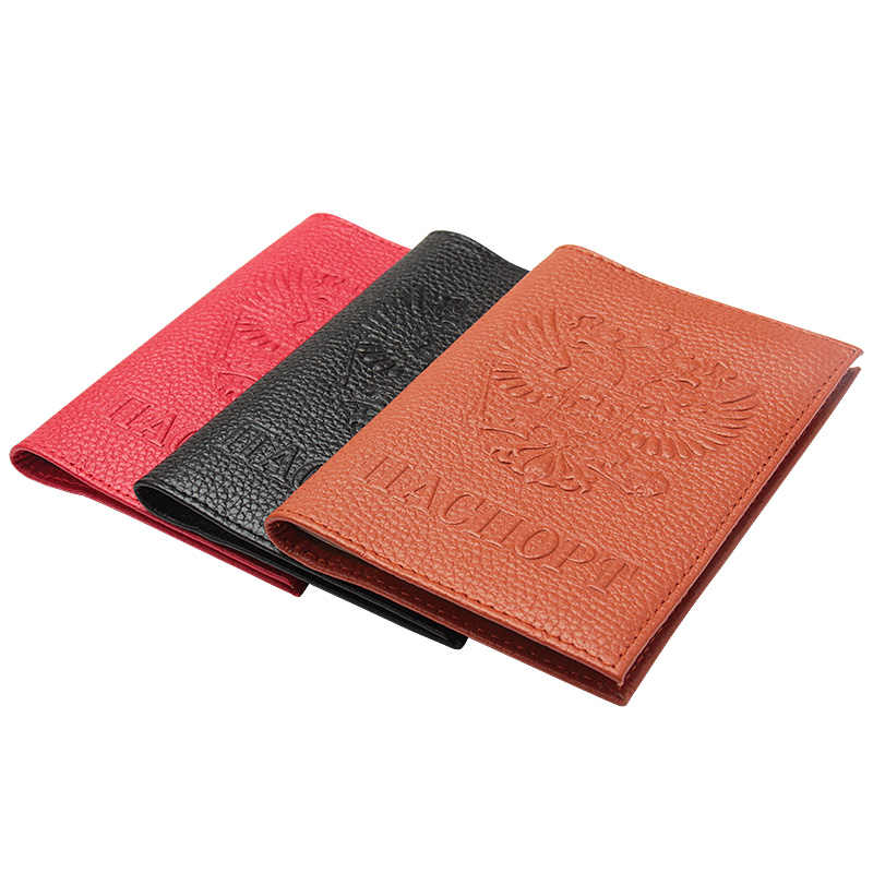 Genuine Leather Russian National Emblem Men Passport Cover World Universal Travel Passport Holder Cover On The Passport Case