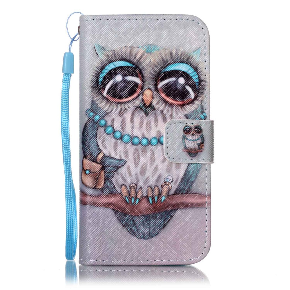 Owl Flower PU Leather Case for iPhone 6 Cover Coque Case