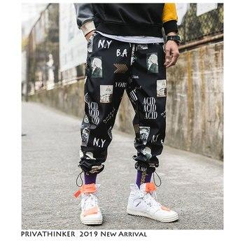 b8e8f41f Privathinker человек Забавный принт уличная джоггеры 2019 хип хоп корейские спортивные  штаны мужские Harajuku винтажные модные брюки плюс размер