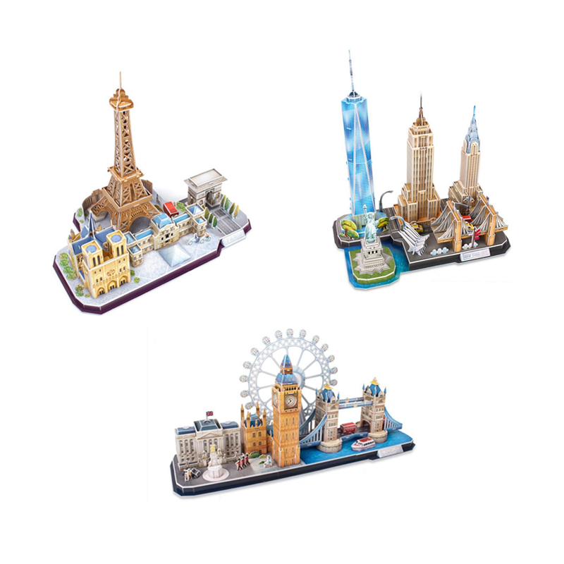 Paper Model Architecture Skyline Collection blocks Construction Brick Educational Block Toys Children scale models Sets brinqued