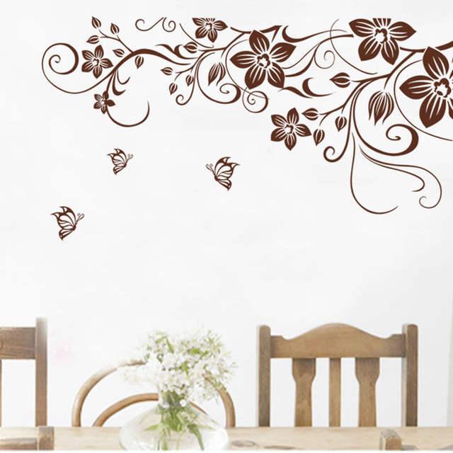 Placeholder [La Fundecor] BRICOLAGE Brun Papillon Fleur De Vigne Stickers  Muraux Décor à La Maison