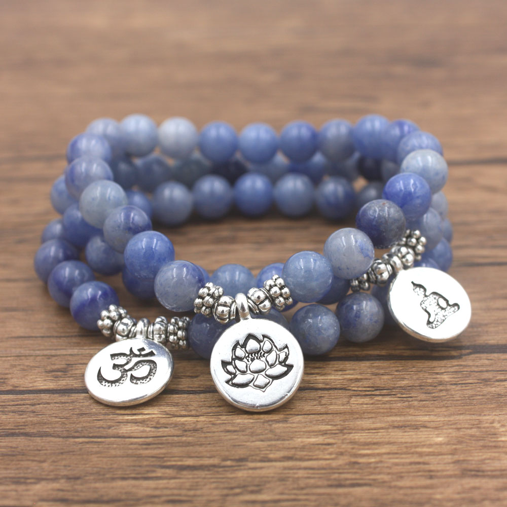 1 Stks Natuursteen Bedelarmband Blue Aventurijn Met Lotus, Om, Boeddha Mala Armband Dropshipping Yogi Sieraden Complete Reeks Artikelen