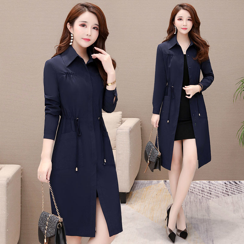 Autumn /Spring   Trench   Women Belt Sexy Wist Loose Size Long Coat Solid Pocket Long Sleeves V-Neck Apparel Top Fashion Overcoat
