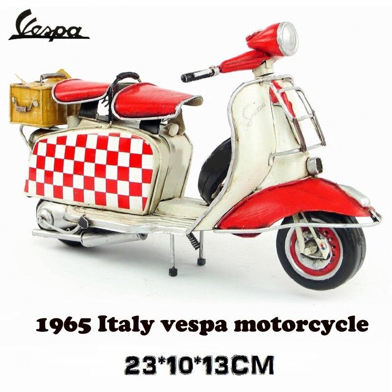 ФОТО vintage metal motorcycle vespa model mini model red roman holiday motorcycle with camp basket toy diecast metal model motorcycle