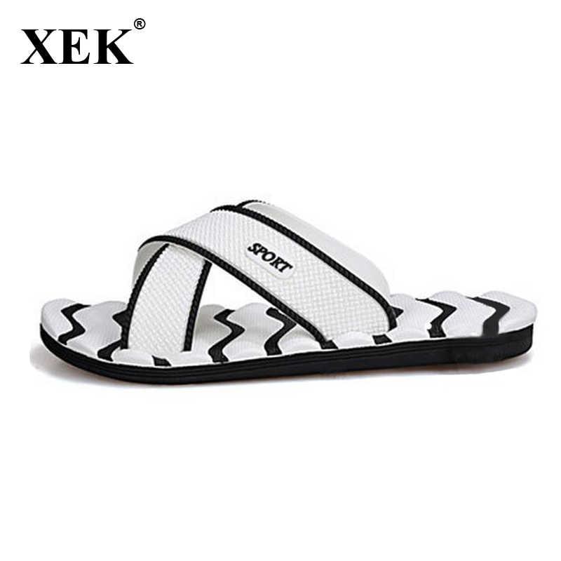 2018 Erkek Terlik Yeni Hafif Rahat Ekose Çizgili Sandalet Yaz Moda Erkekler Klasik Flip flop Sıcak Yumuşak Plaj Ayakkabı XC19