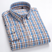 Men's Casual Button Down Plaid Checked Shirt Patch Single Pocket Long Sleeve Comfortable 100% Cotton Standard-fit Dress Shirts