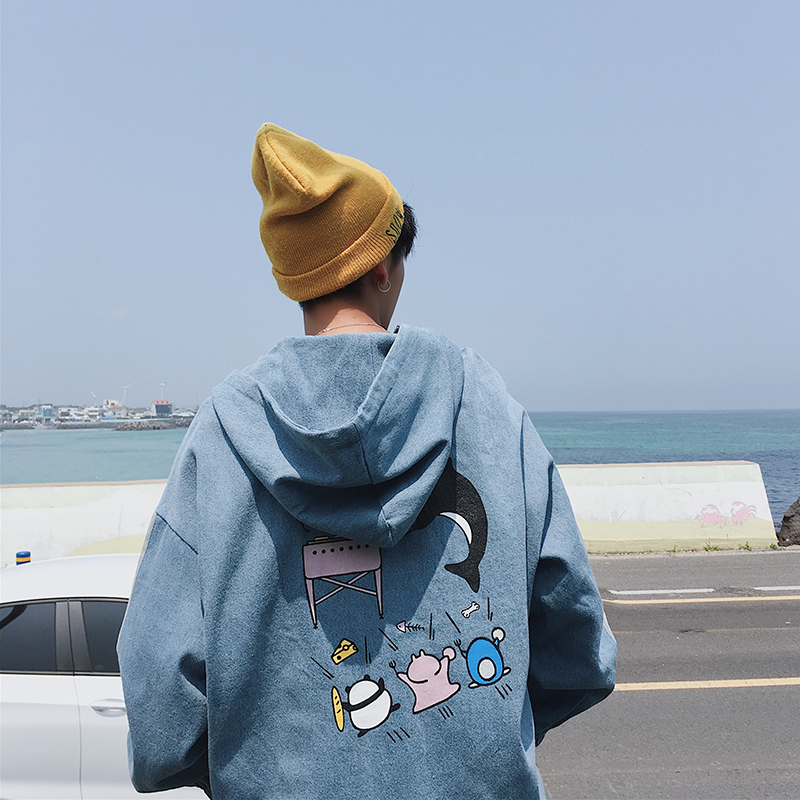 2017 Autumn mens Exclusive design Hot sale cartoon printed denim coat Hooded Set head Fashion jacket Men cowboy clothing M-2XL