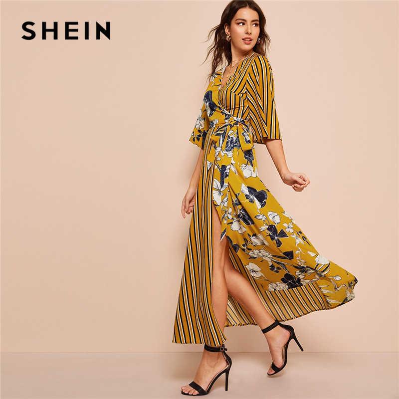 SHEIN платье в полоску с цветочным принтом и вырезом для серфинга три четверти Длина рукава женские платья с высокой талией весенне-осенние платья