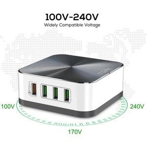 Image 3 - TOPK 50 واط سريع تهمة 3.0 USB شاحن 8 ميناء USB الهاتف المحمول سطح المكتب شاحن سريع آيفون سامسونج شاومي الاتحاد الأوروبي الولايات المتحدة المملكة المتحدة التوصيل