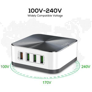 Image 3 - TOPK 50W Quick Charge 3.0 USB Charger 8 Port USB Mobile Phone Desktop Fast  Charger for iPhone Samsung Xiaomi EU US UK Plug