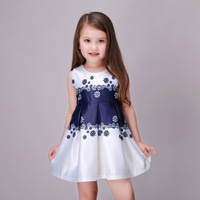 3 13Years Navy White Flower Girl Dresses Summer Teenage Ball Gowns Kids Tutu Princess Party Baby