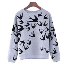 Fashion Women Swallow Printing Casual Long Sleeve Sweatshirt Pullover Tops