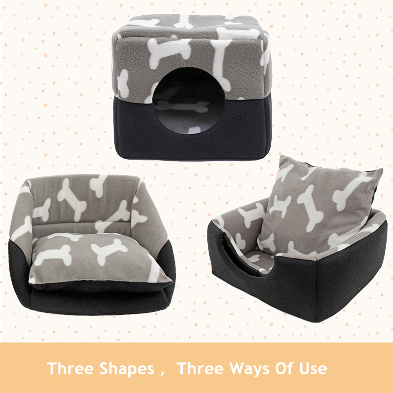 3-IN-1 Multi-functional Use Pet Dog Cat Bed Foldable Warm Soft Bone Kennel Removable Mat Cushions Puppy House  Pet Supplies