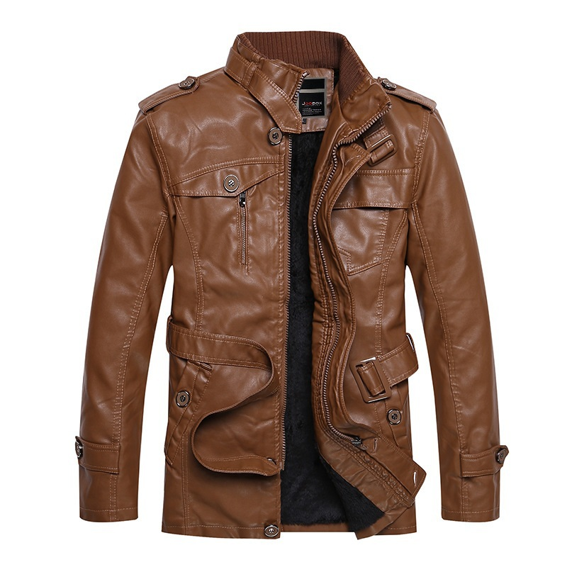 Brown Leather Motorcycle Jacket Men - Jacket