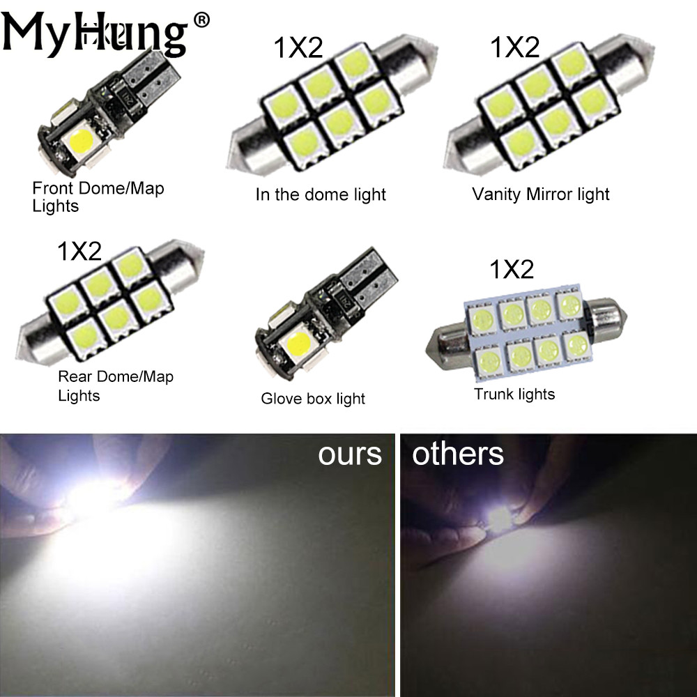 For VW Sharan 1995-2010 Convenience Bulbs Car Led Interior Light Replacement Bulbs Dome Map Lamp Light White 11 PCS Per Set