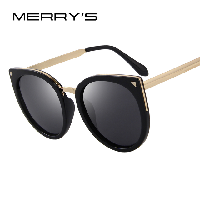 479068e5b5 MERRY S Women Cat Eye Polarized Sunglasses Fashion Sunglasses Metal Temple  100% UV Protection S 6046