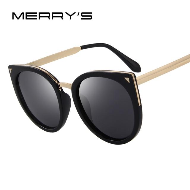 479068e5b5 MERRY S Women Cat Eye Polarized Sunglasses Fashion Sunglasses Metal Temple  100% UV Protection S 6046