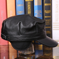 Men's Leather Hat Adult Autumn Winter Leather Cap Students Octagonal Cap Genuine Leather Flat Hat Male Peak Baseball Cap B 7288