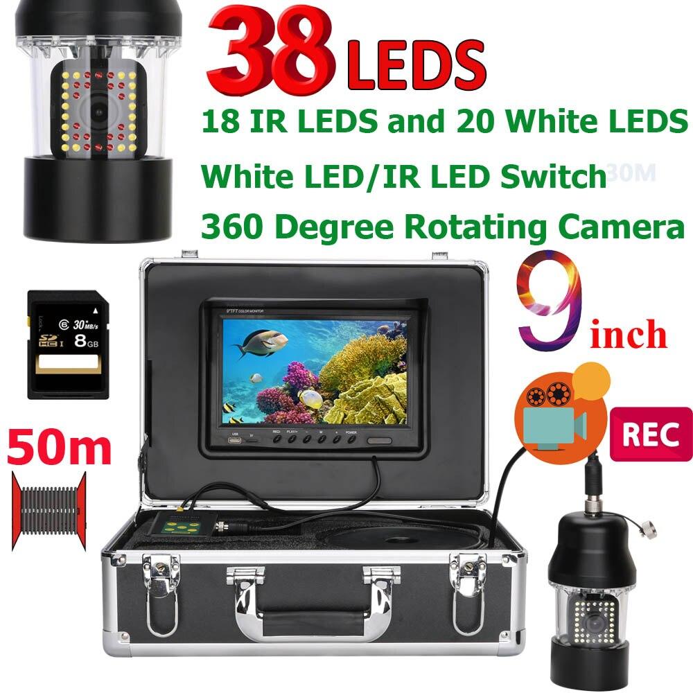 9 pulgadas DVR 20 M 50 m 100 M pesca submarina cámara de vídeo buscador de los pescados IP68 impermeable 38 LEDs 360 grados de rotación de la cámara