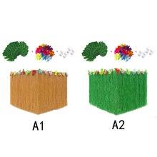New Cloth Hawaiian Table Skirt Party Decor Artificial Grass Hibiscus Velcro Supplies 276*75cm Fashion Hot