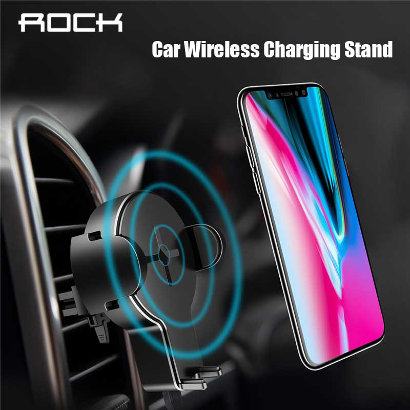 ROCK 5W Wireless Car Charger for iPhone XR XS Max 8 plus qi wireless Charger flexible phone Charging Stand for Samsung s9 plus