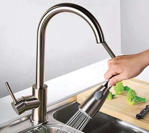 Aliexpress Kitchen Faucet Pull Out Hot And Cold Water Tap Nickel Brushed Mixer Sink From Reliable Suppliers On