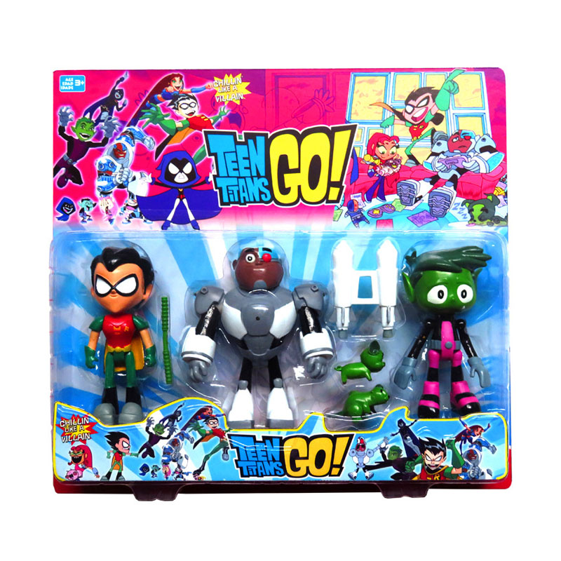 3Pcs Teen Titans Go Action Figures Toys 13CM Robin Beast Boy Raven Cyborg  Model Collection Toys For Children Birthday Gifts 5pcs lots 2017 film extraordinary corps mecha five beast hand collection model toy