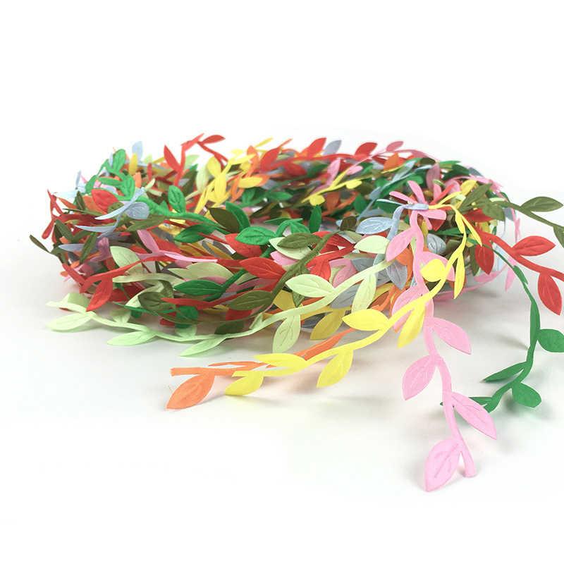 2 metr kolorowe sztuczne liście kwiat dla domu dekoracja na przyjęcie ślubne scrapbooking, rzemiosło DIY jesienna dekoracja sztuczne rośliny