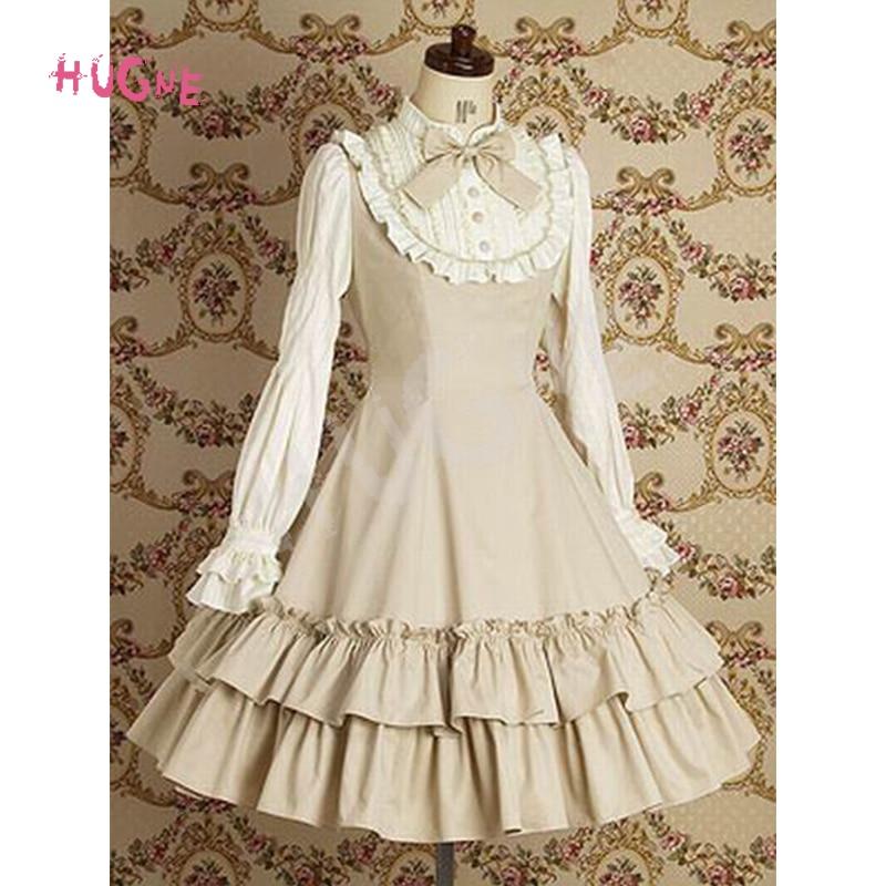 Hugne Sweet Lolita Dress Women's Classic Long Sleeve Vintage Dress with Ruffles