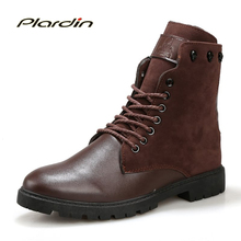 Plardin 2017 Fashion Winter motorcycle boots Comfortable Man Cross-tied Mid-calf Stitching Shoes Zip Knight boots for men