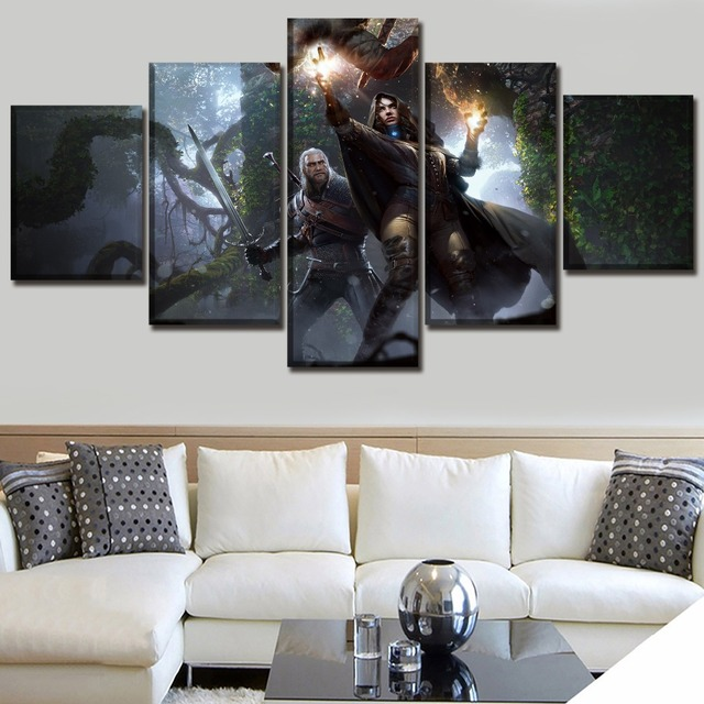 Modern HD Printed Framework Canvas Picture 5 Piece Game The Witcher 3 Wild Hunt Yennefer Geralt Painting Home Decor Living Room