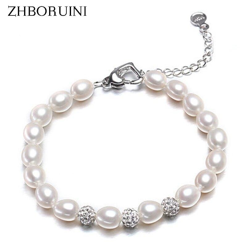 ZHBORUINI Charm Bracelet Pearl Jewelry Zircon Crystal Ball Bracelet Drop Shape Natural Freshwater Pearl Bracelet For Women