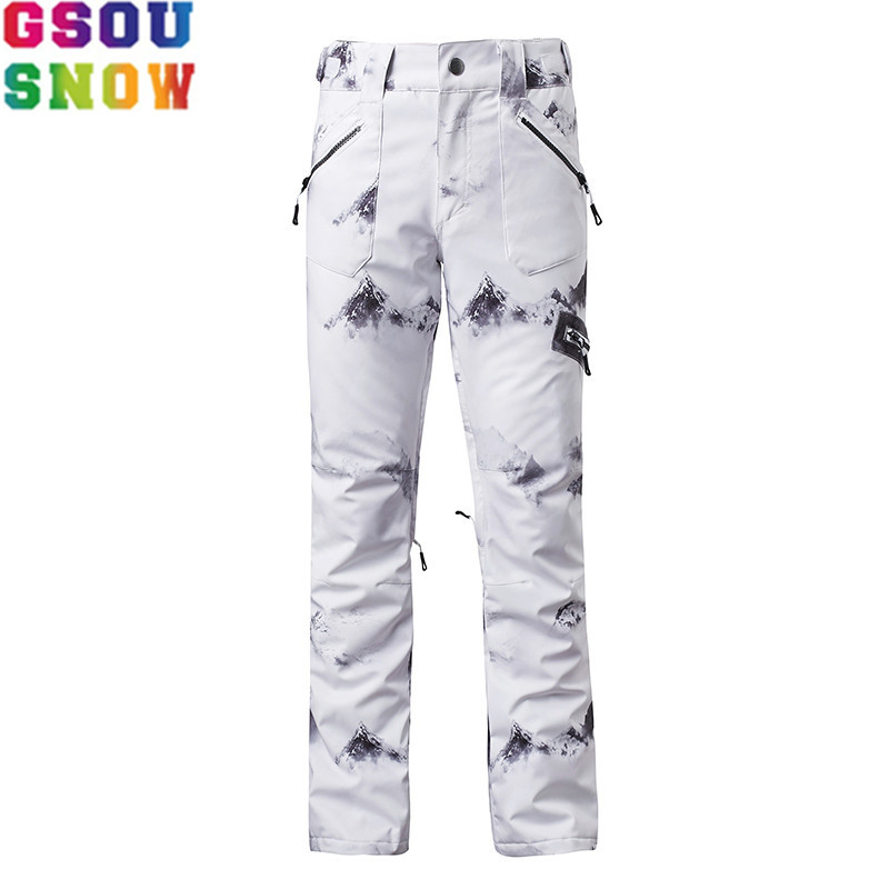 GSOU SNOW Brand Ski Pants Women Waterproof Snowboard Tights Skis Trousers China Style Printed Female Winter Skiing Sports Pants gsou snow brand ski pants women waterproof snowboard tights slimming skis trousers winter outdoor sport mountain skiing pants