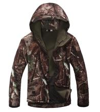 Free shipping High quality Hunting hooded Waterproof jacket camo Hiking Multi pockets coat Fleece jacket