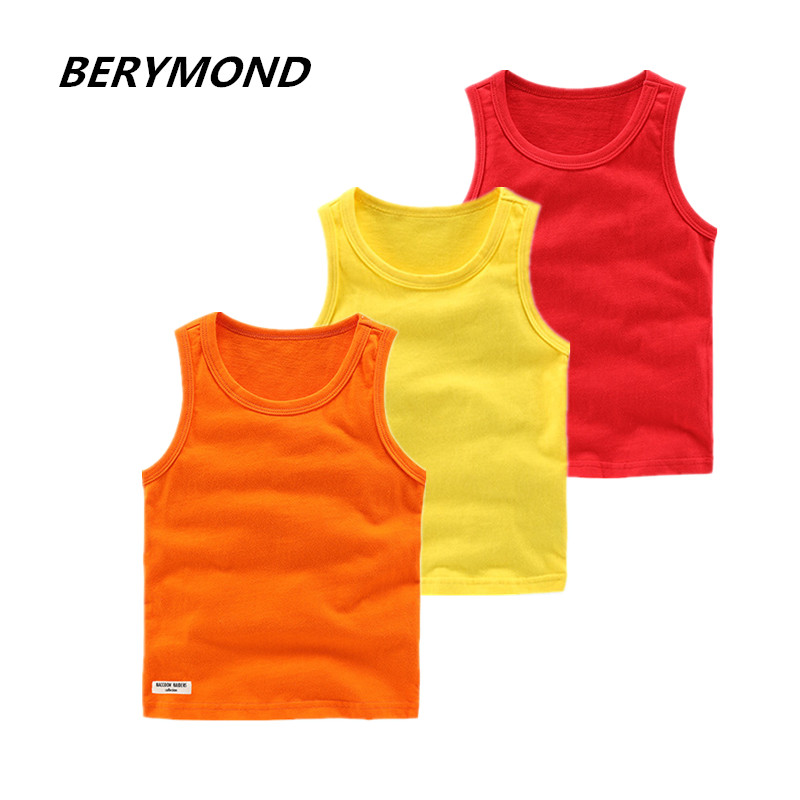 New Children Cotton Vest Boys Girls Underwear Vests Summer Vest Kids Child Sleeveless T Shirt Soft 11 Kinds Of Candy Colors