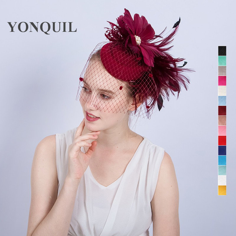 19Colors available feather flower headband hair clips elegant women veil wedding wool fascinator hat hair accessories SYF154 high quality hair color one time molding paste seven colors available grandma gray green japanese hair dye wax wp65