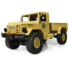 WPL B-1 1:16 Mini Off-Road RC Military Truck 4WD RC Crawler Car With Bright LED Light RTR Four-Wheel Drive Metal Suspension Beam