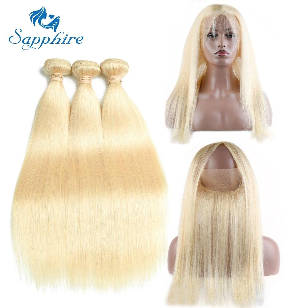Sapphire 613 Color Malaysian Straight Human Hair 3 Bundles With 360 Lace Frontal Malaysian Bundles with