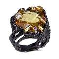 New Black anel com AAA CZ pedra negra banhado a ouro exclusivo Designer de anéis para menina bijuterias remessa livre full size