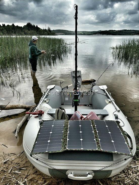 SUNPOWER 75 watts 36 V Flexible pliant panneau solaire sans cadre tissu Portable chargeur solaire pour moteur marin électrique Torqeedo