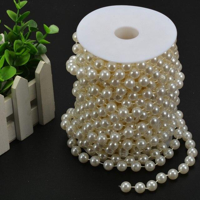 10mm pearl bead garland spool rope wedding centerpiece flower decorations christmas decor supplies - Christmas Bead Garland