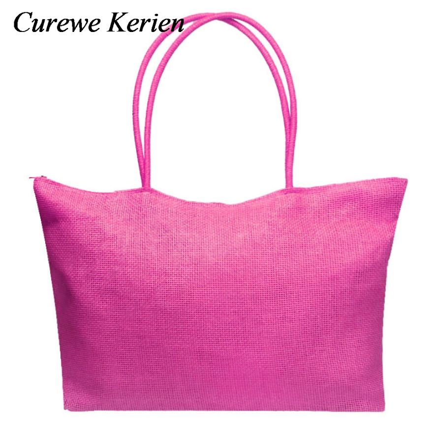 New Arrivals Straw Knitting Candy Color Large Straw Beach Bags ...