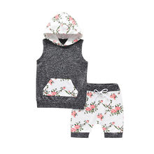CHAMSGEND Toddler Infant Baby Boys Girls Cotton Blend Floral Print Hooded Tops Shorts Soft hand feeling Outfits Set 19MAR19 P40(China)