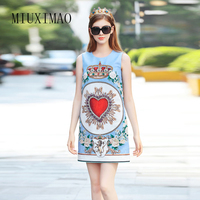2018 Newest Spring & Summer Fashion A Line O Neck Sleeveless Tank Diamonds Love Shaped Print Elegant Above Knee Dress Women