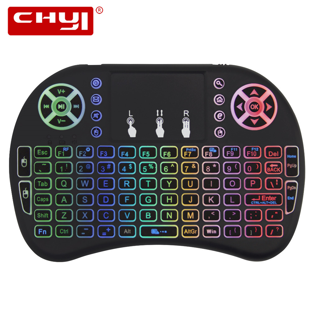Color: English Backlit Calvas I8 Keyboard 2.4ghz Wireless Mini Backlight Air Mouse English Russian Touchpad Handheld Remote Control Android TV Box Notebook PC